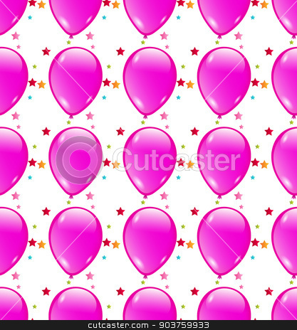 Seamless background with party balloons of pink colors stock vector clipart, Seamless background with party balloons of pink colors ideal for baby shower by Serhii