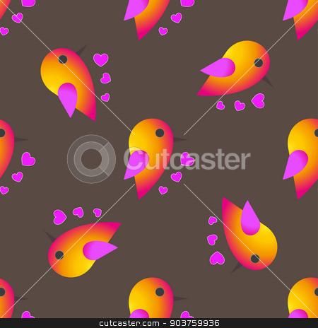 bird sparrow. St. Valentine's Day. Seamless pattern. Vector stock vector clipart, bird sparrow. St. Valentine's Day. Seamless pattern. Vector Seamless pattern. Vector illustration by Serhii