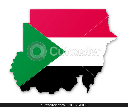 Map and flag of Sudan stock photo, Illustration of a map with a flag of Sudan by MIPImages