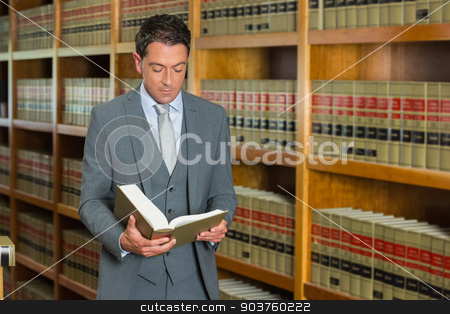 Lawyer reading book in the law library stock photo, Lawyer reading book in the law library at the university by Wavebreak Media