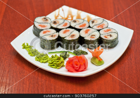 Roll with smoked eel and salmon  stock photo, Roll with smoked eel and salmon fish  by olinchuk