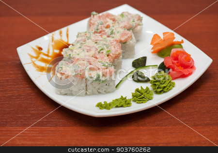 Roll with cream sauce, salmon fish stock photo, Roll with cream sauce and salmon fish by olinchuk