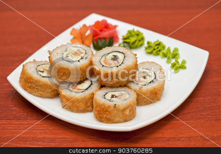 Roasted roll stock photo, Roasted roll with cream cheese, cucumber and salmon fish by olinchuk