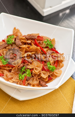 Farfalle stock photo, Farfalle with vegetable and beef by olinchuk