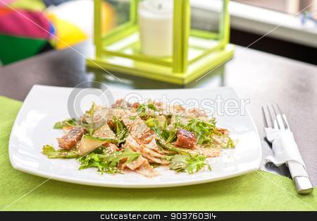 Salad with smoked eel stock photo, Salad with smoked eel. Japanese food by olinchuk