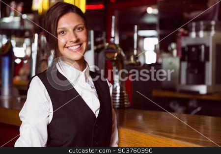Happy barmaid smiling at camera stock photo, Happy barmaid smiling at camera in a bar by Wavebreak Media
