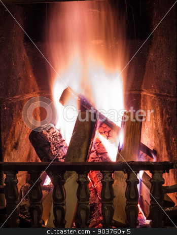 Burning fire in the fireplace stock photo, Burning fire in the fireplace. Cosy place by Viktor