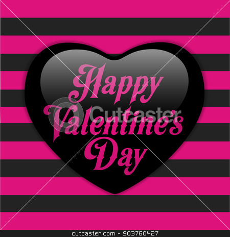 Glossy Emo Heart. Pink and Black Stripes stock vector clipart, Vector - Glossy Emo Heart. Pink and Black Stripes by Augusto Cabral Graphiste Rennes