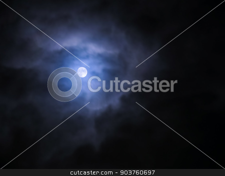 Moon and clouds in the night  stock photo, Moon and clouds in the fogy night by Viktor
