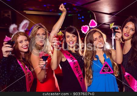 Pretty friends on a hen night stock photo, Pretty friends on a hen night at the nightclub  by Wavebreak Media