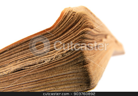 Close-up of old book on white background stock photo, Shown close-up the old book on white background by marekusz