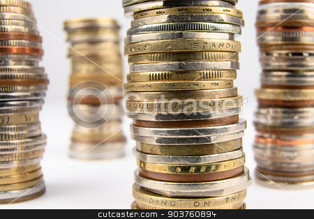 Coins stock photo, Stack of various coins shown close up. by marekusz