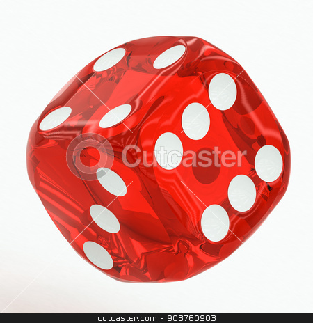 one red dice falling stock photo, one red dice falling on a white background by Artem Zamula