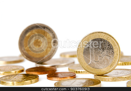 Euro coins stock photo, Coins in denominations of one and two euro and other by marekusz