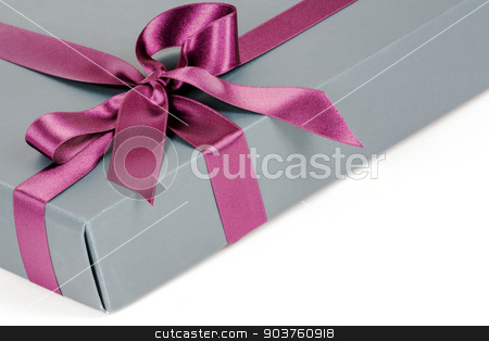 Gift box stock photo, Fancy flat packed gift box with decorative ribbon by marekusz