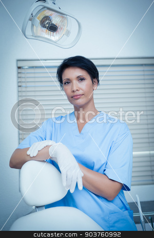 Serious young female dentist stock photo, Portrait of serious young female dentist by Wavebreak Media
