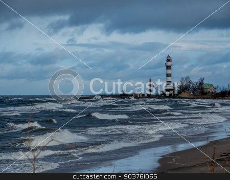 Baltic sea beach with blue cloudy sky  stock photo, Baltic sea beach with blue cloudy sky and waves by Viktor