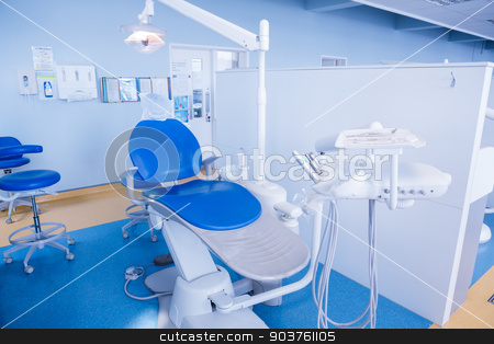 Close up of a dentists chair stock photo, Close up of a dentists chair at the dental clinic by Wavebreak Media