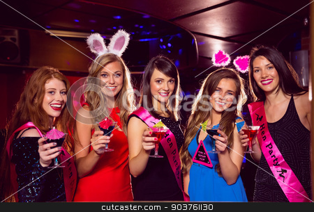 Pretty friends on a hen night stock photo, Pretty friends on a hen night at the nightclub  by Wavebreak Media