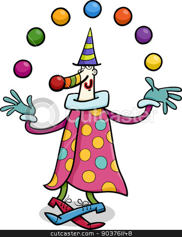 circus clown juggler cartoon illustration stock vector clipart, Cartoon Illustration of Funny Clown Circus Performer Juggling Balls by Igor Zakowski