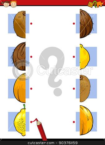 education halves game cartoon stock vector clipart, Cartoon Illustration of Education Halves Matching Game for Preschool Children by Igor Zakowski