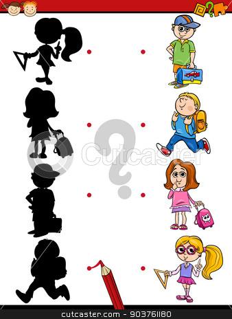 education shadows game cartoon stock vector clipart, Cartoon Illustration of Education Shadow Matching Game for Preschool Children by Igor Zakowski