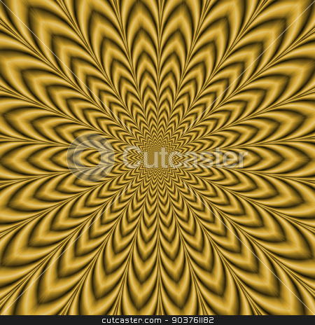 Gold Explosion stock photo, An optically challenging fractal image with an exploding geometric design in gold. by Colin Forrest