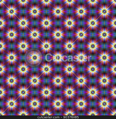 Seamless Dasies in Blue and Purple stock photo, A digital abstract fractal image with a seamless  tiled flower pattern in blue and purple. by Colin Forrest