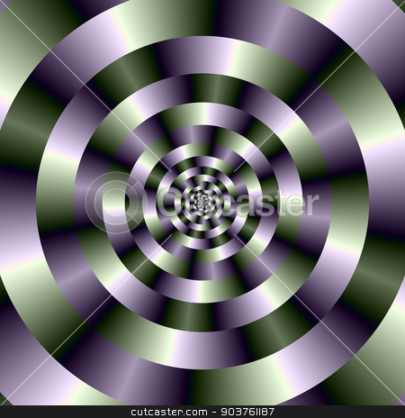 Concentric Circles in Green and Purple stock photo, A digital abstract image with a concentric circles design in green and purple. by Colin Forrest