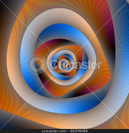 Spiral Labyrinth in Orange and Blue stock photo, A digital abstract image with a spiral labyrinth design in orange and blue. by Colin Forrest