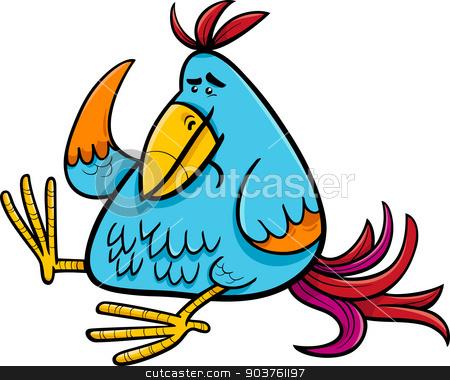 exotic fantasy bird cartoon illustration stock vector clipart, Cartoon Illustration of Colorful Fantasy or Exotic Bird by Igor Zakowski