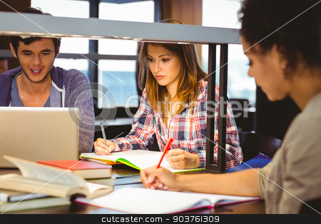 Serious young classmates working together  stock photo, Serious young classmates working together in library by Wavebreak Media