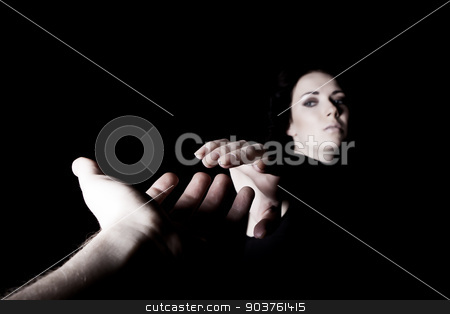 helping hand stock photo, male and female hands outstretched to each other by Suchota