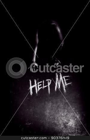 Help Me stock photo, Help me sign, written in chalk on grunge old linoleum below the women's hands.  by Suchota