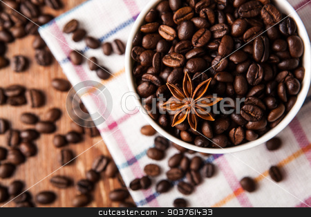 Still-life with a cup of coffee beans stock photo, Still-life with a cup of coffee beans close up by mizar_21984