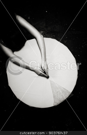 White Circle stock photo, White circle Broken glass Hands Shallow depth of field Toned BW by Suchota