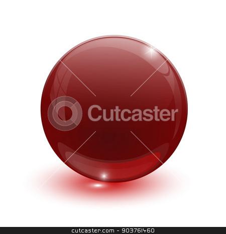 Ruby glassy ball stock vector clipart, Ruby glassy ball on white background by mizar_21984