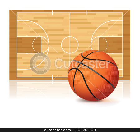 Basketball and Court Isolated on White stock vector clipart, An illustration of a basketball and basketball court isolated on a white background. Vector EPS 10 available. EPS file contains transparencies and a gradient mesh. by Jason Enterline
