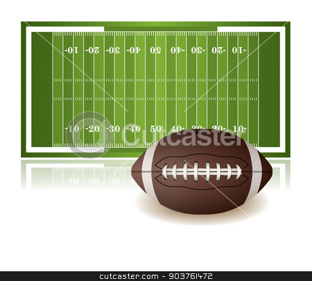 American Football Field and Ball Isolated on White stock vector clipart, An illustration of an American football field and ball isolated on a white background. Vector EPS 10 available. EPS file contains transparencies. by Jason Enterline