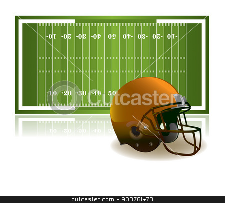 American Football Helmet and Field Illustration stock vector clipart, An illustration of an American football field and helmet isolated on a white background. Vector EPS 10 available. EPS file contains transparencies. by Jason Enterline
