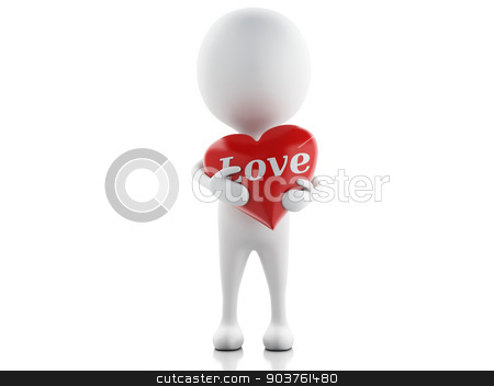 3d white people with red heart, isolated white background. stock photo, 3d illustration. white people with red heart. Valentines Day concept, isolated white background. by nicolas menijes