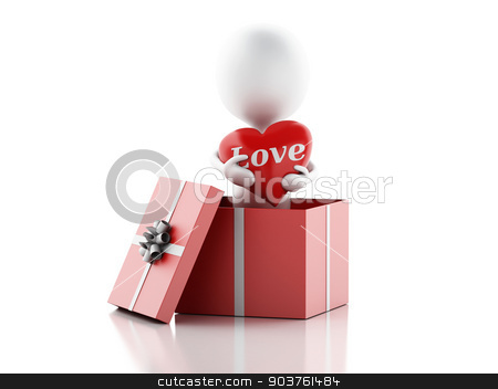 3d white person in love with red heart, isolated white backgroun stock photo, 3d illustration. white person in love with red heart. Valentines Day concept, isolated white background. by nicolas menijes