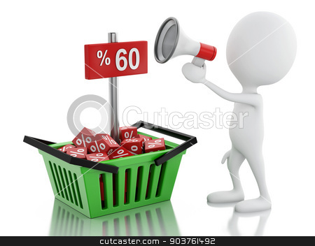 3d man sale announcement with megaphone and shopping basket. stock photo, 3d illustration. white people sale announcement with megaphone and shopping basket on white background by nicolas menijes