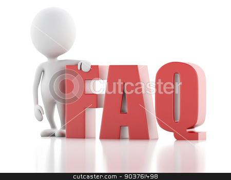 3d white person standing next to FAQ on white background stock photo, 3d renderer illustration. White person standing next to FAQ on white background by nicolas menijes