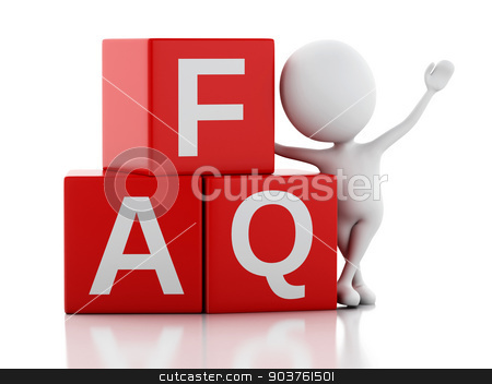 3d white person standing next to FAQ on white background stock photo, 3d renderer illustration. White person standing next to FAQ on white background by nicolas menijes
