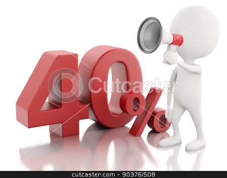 3d white people with percent sign. discount concept on white bac stock photo, 3d illustration. White people with red percent sign. discount concept on white background by nicolas menijes