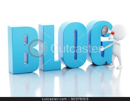 3d man with blog sign. News concept on white background stock photo, 3d illustration. White man with blog sign. News concept on white background by nicolas menijes