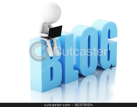 3d man with laptop and blog sign. News concept on white backgrou stock photo, 3d illustration. White man with  laptop and blog sign. News concept on white background by nicolas menijes
