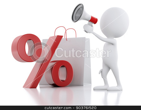 3d white man sale announcement with megaphone,  shopping bag and stock photo, 3d illustration. White man sale announcement with megaphone,  shopping bag and percent sign on white background by nicolas menijes