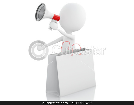 3d man sale announcement with megaphone and shopping bag. stock photo, 3d illustration. White man sale announcement with megaphone and shopping bag on white background by nicolas menijes